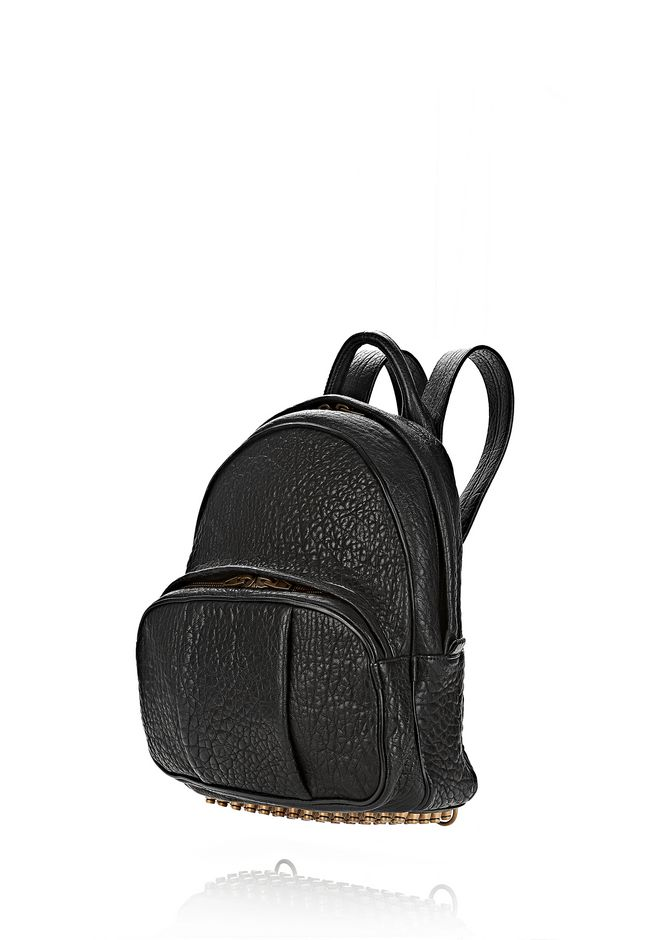 ALEXANDER WANG DUMBO BACKPACK IN PEBBLED BLACK WITH ANTIQUE BRASS BACKPACK Adult 12_n_e