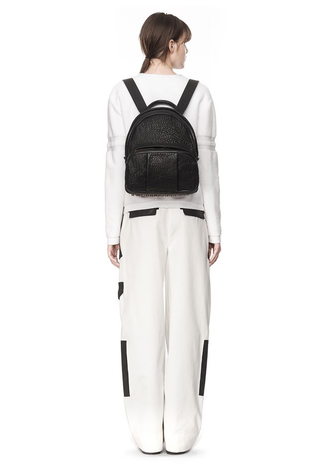 ALEXANDER WANG DUMBO BACKPACK IN PEBBLED BLACK WITH ANTIQUE BRASS BACKPACK Adult 12_n_r