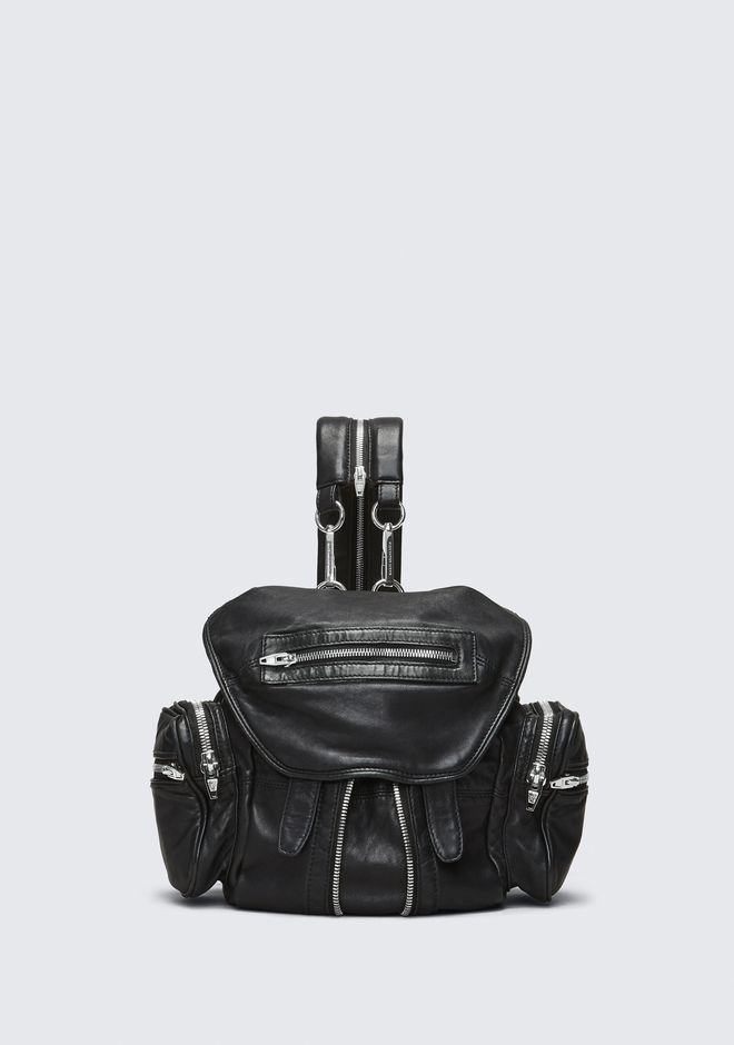 ALEXANDER WANG BACKPACKS MINI MARTI BACKPACK IN WASHED BLACK WITH RHODIUM