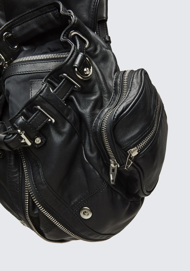 ALEXANDER WANG MINI MARTI BACKPACK IN WASHED BLACK WITH RHODIUM RUCKSACK Adult 12_n_e