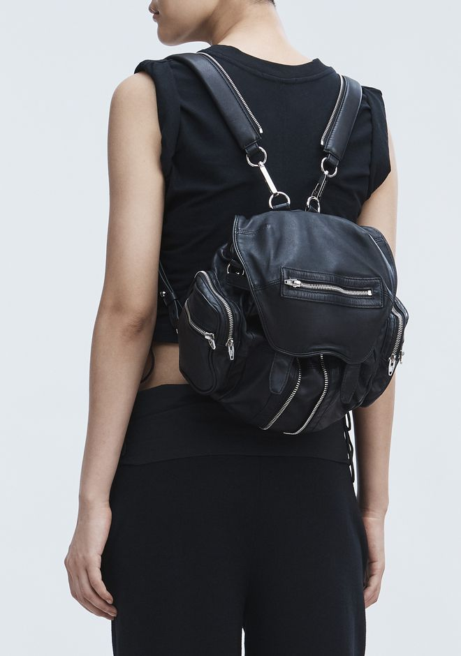 ALEXANDER WANG MINI MARTI BACKPACK IN WASHED BLACK WITH RHODIUM RUCKSACK Adult 12_n_r