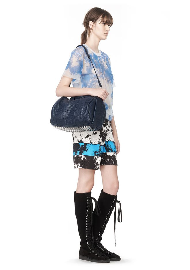 ALEXANDER WANG ROCCO IN PEBBLED NEPTUNE WITH RHODIUM Shoulder bag Adult 12_n_r