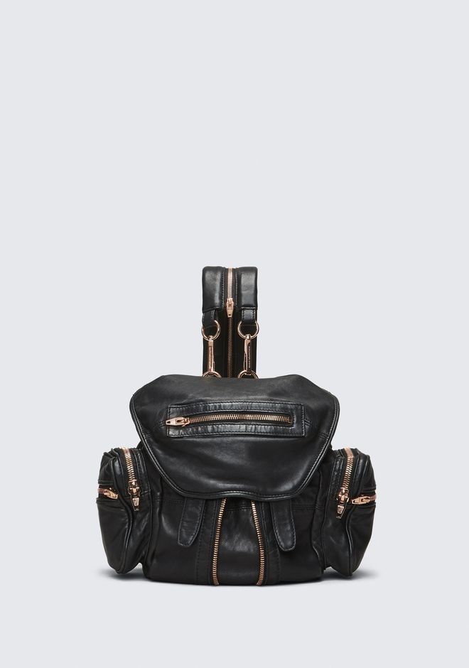 ALEXANDER WANG BACKPACKS MINI MARTI BACKPACK IN WASHED BLACK WITH ROSE GOLD