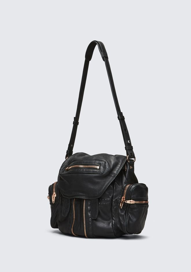 ALEXANDER WANG MINI MARTI BACKPACK IN WASHED BLACK WITH ROSE GOLD SAC À DOS Adult 12_n_a