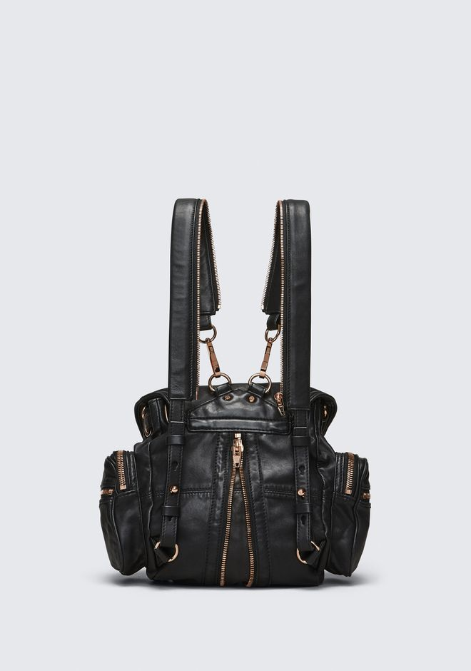 ALEXANDER WANG MINI MARTI BACKPACK IN WASHED BLACK WITH ROSE GOLD  BACKPACK Adult 12_n_d