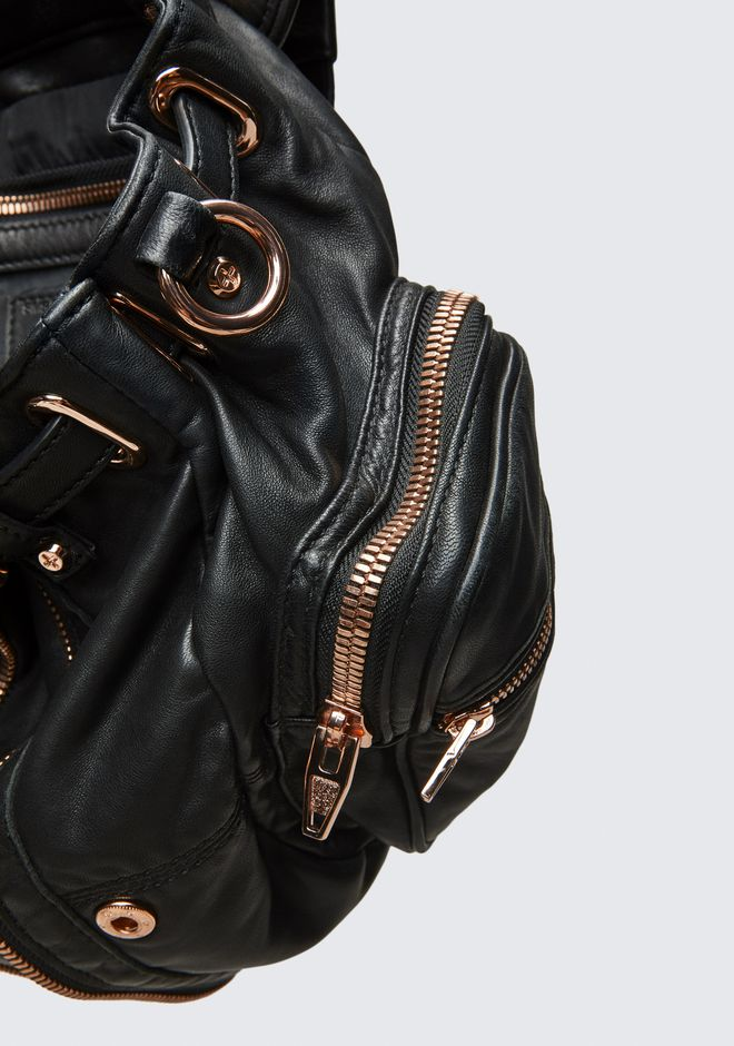 ALEXANDER WANG MINI MARTI BACKPACK IN WASHED BLACK WITH ROSE GOLD SAC À DOS Adult 12_n_e
