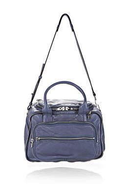 EUGENE SATCHEL IN WASHED STEEL RHODIUM
