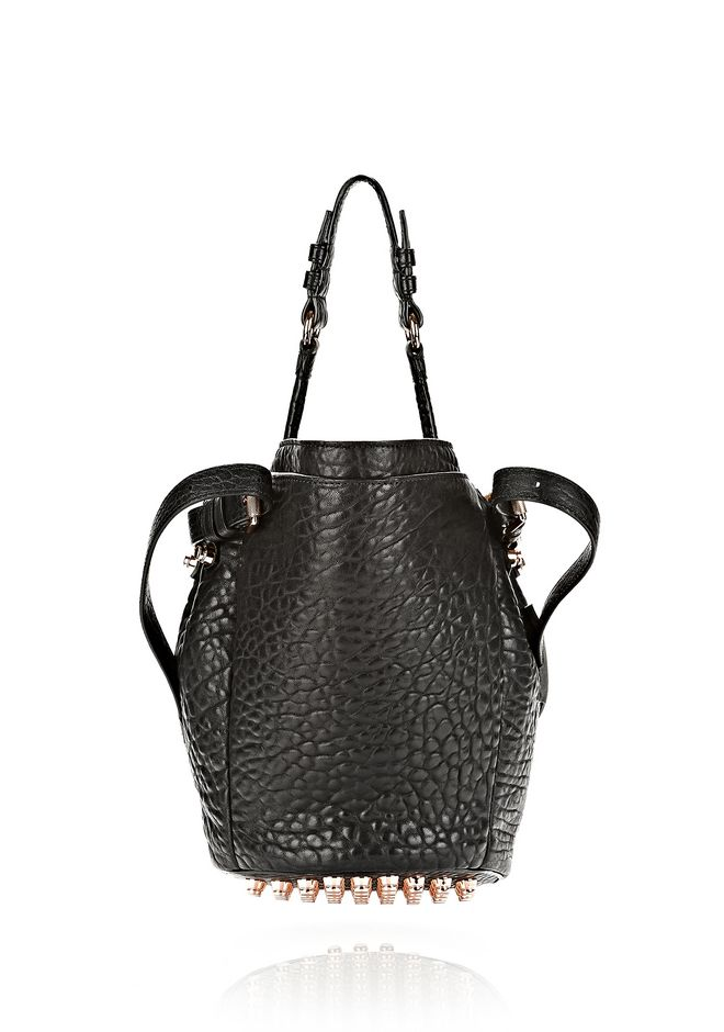 ALEXANDER WANG SMALL DIEGO IN PEBBLED BLACK WITH ROSE GOLD Shoulder bag Adult 12_n_d