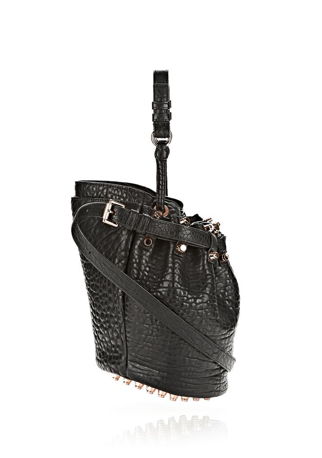 ALEXANDER WANG SMALL DIEGO IN PEBBLED BLACK WITH ROSE GOLD Shoulder bag Adult 12_n_e