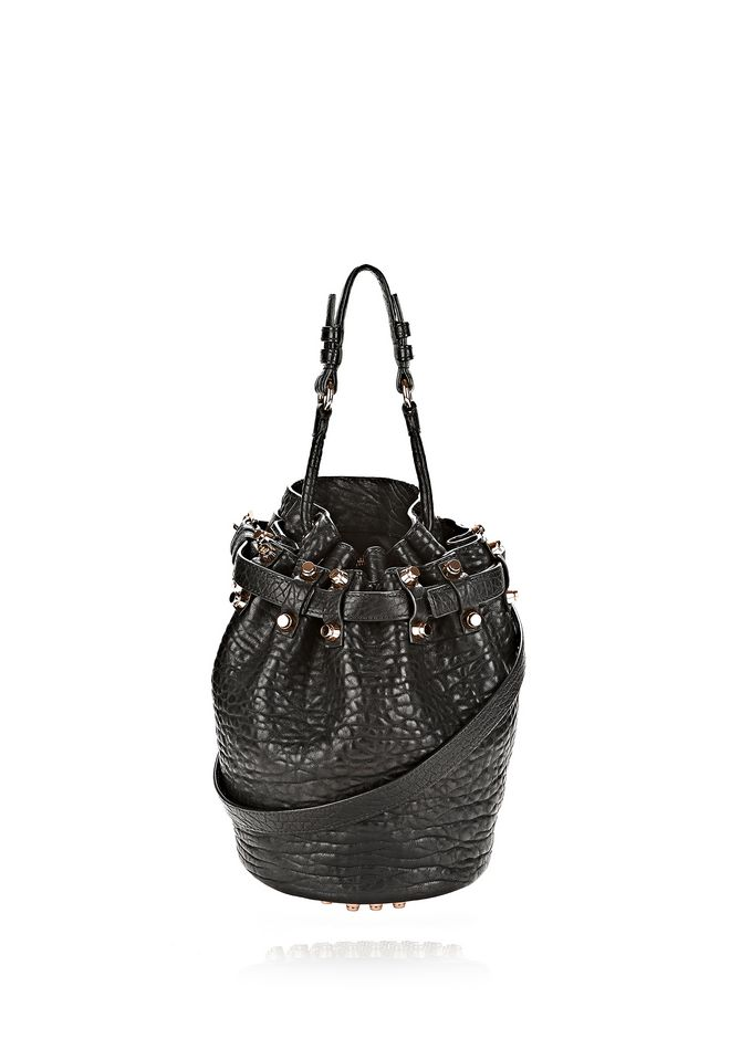 Alexander Small Go In Pebbled Black With Rose Gold Shoulder Bag 12 N F
