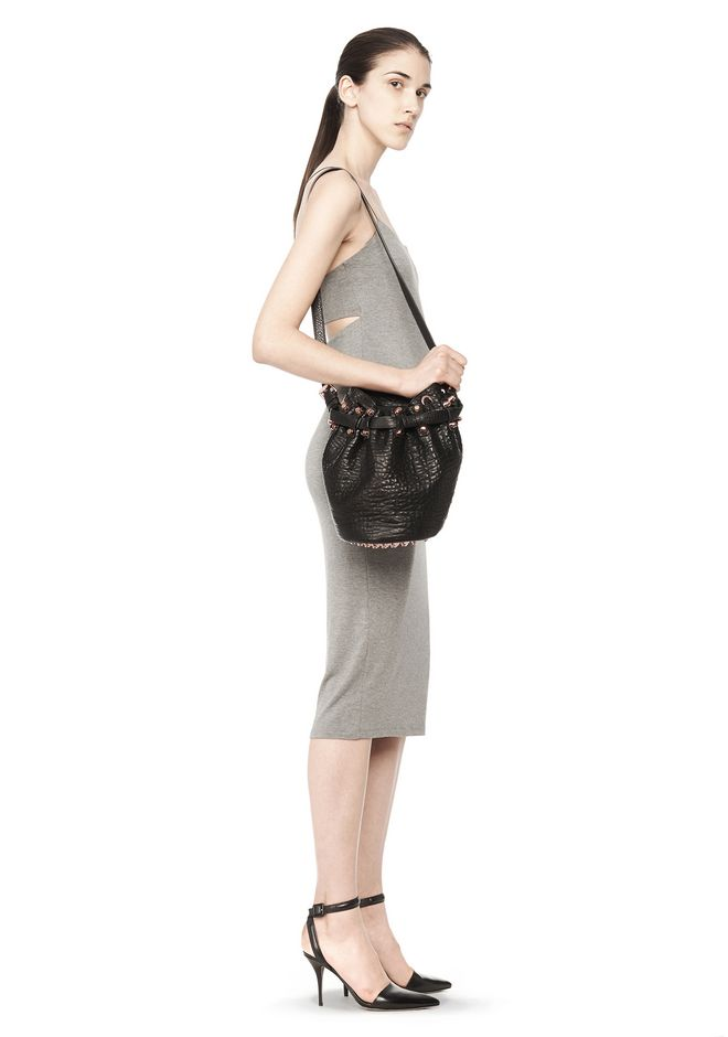 ALEXANDER WANG SMALL DIEGO IN PEBBLED BLACK WITH ROSE GOLD Shoulder bag Adult 12_n_r