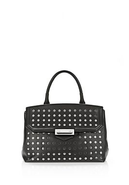 LARGE MARION SLING IN BLACK WITH EYELETS AND RHODIUM