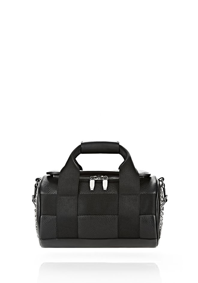 Alexander Runway Studded Small Duffel Bag In Black With Rhodium Shoulder 12 N F