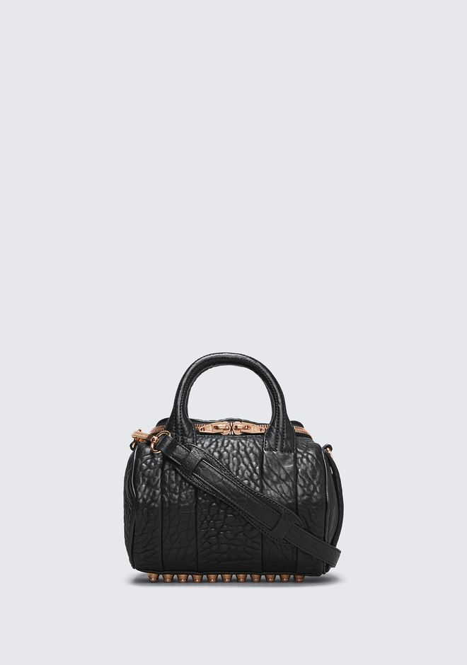 ALEXANDER WANG rockie-rocco MINI ROCKIE IN PEBBLED BLACK WITH ROSE GOLD