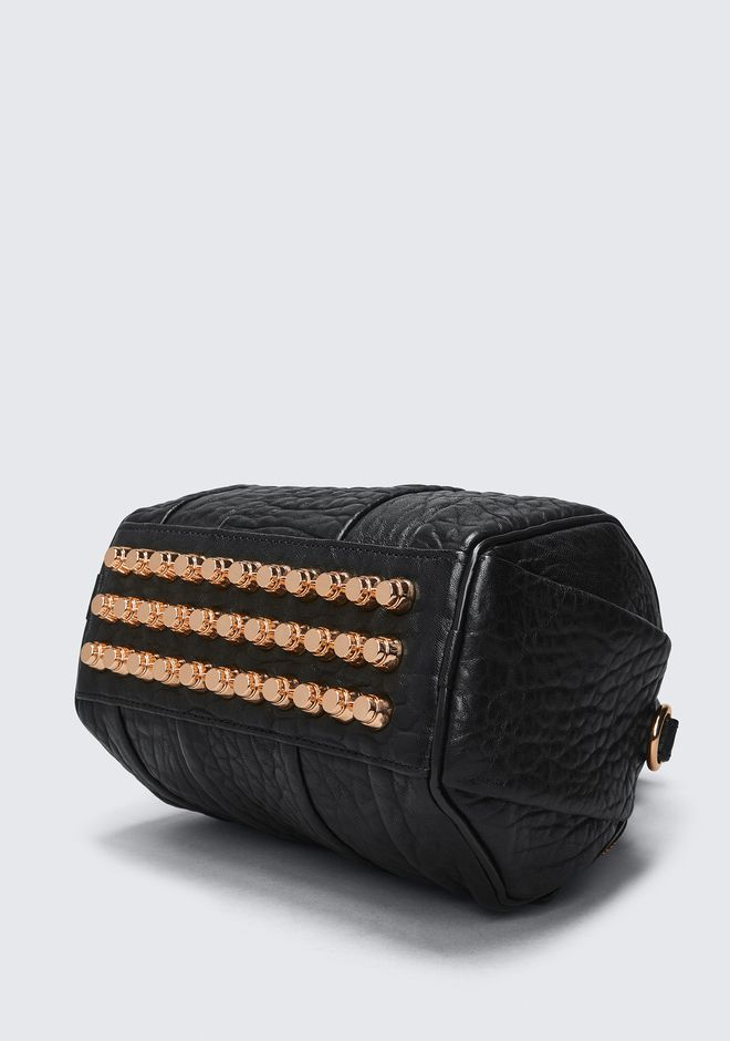 ALEXANDER WANG MINI ROCKIE IN PEBBLED BLACK WITH ROSE GOLD   Borse a spalla Adult 12_n_a
