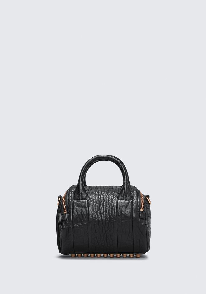 ALEXANDER WANG MINI ROCKIE IN PEBBLED BLACK WITH ROSE GOLD   Borse a spalla Adult 12_n_d