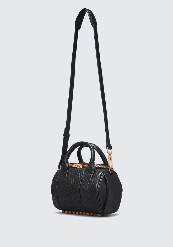 ALEXANDER WANG MINI ROCKIE IN PEBBLED BLACK WITH ROSE GOLD   Borse a spalla Adult 12_n_e