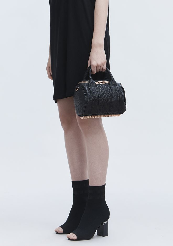 ALEXANDER WANG MINI ROCKIE IN PEBBLED BLACK WITH ROSE GOLD   Borse a spalla Adult 12_n_r