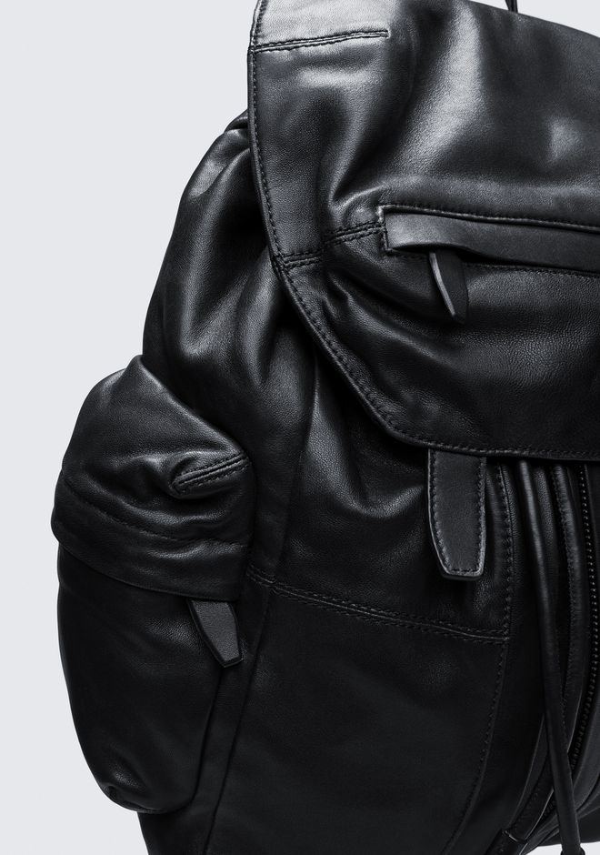 ALEXANDER WANG MARTI BACKPACK IN WASHED BLACK WITH MATTE BLACK RUCKSACK Adult 12_n_e