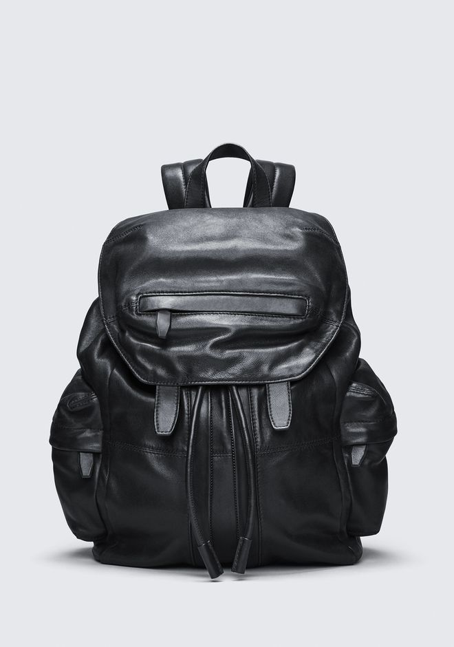 ALEXANDER WANG MARTI BACKPACK IN WASHED BLACK WITH MATTE BLACK RUCKSACK Adult 12_n_f