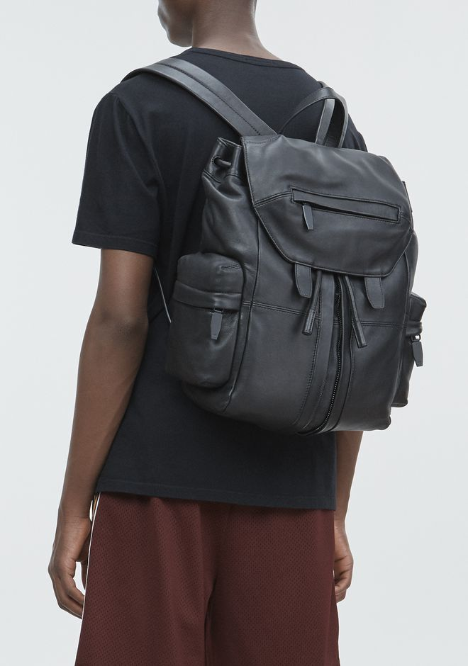 ALEXANDER WANG MARTI BACKPACK IN WASHED BLACK WITH MATTE BLACK RUCKSACK Adult 12_n_r
