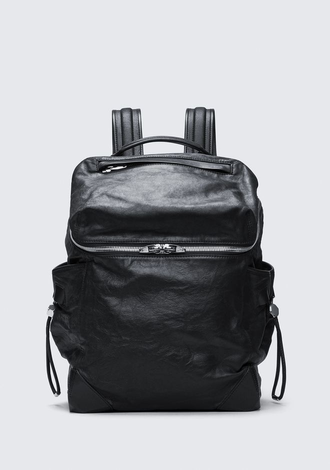 ALEXANDER WANG BACKPACKS SMALL WALLIE BACKPACK IN WAXY BLACK WITH RHODIUM