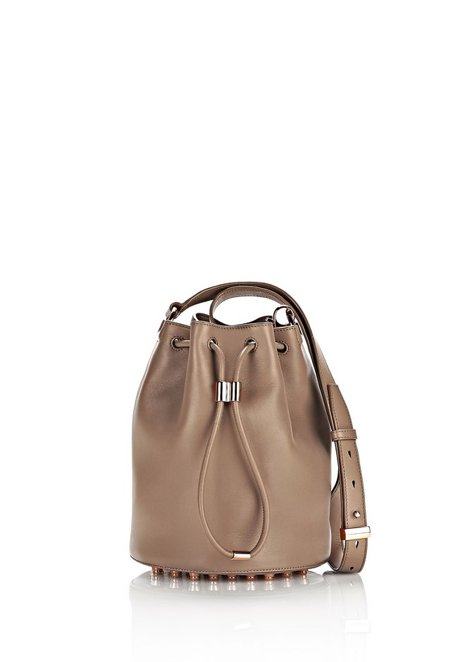 Alexander Alpha Bucket In Latte With Rose Gold Shoulder Bag 12 N F