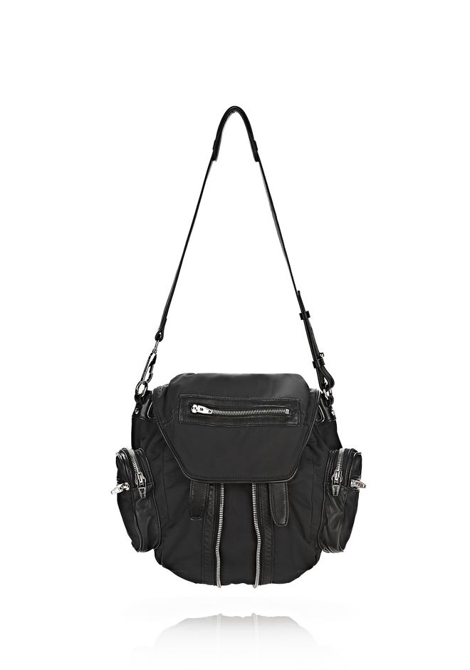 Alexander Mini Marti In Black Leather And Nylon With Rhodium Backpack 12 N D