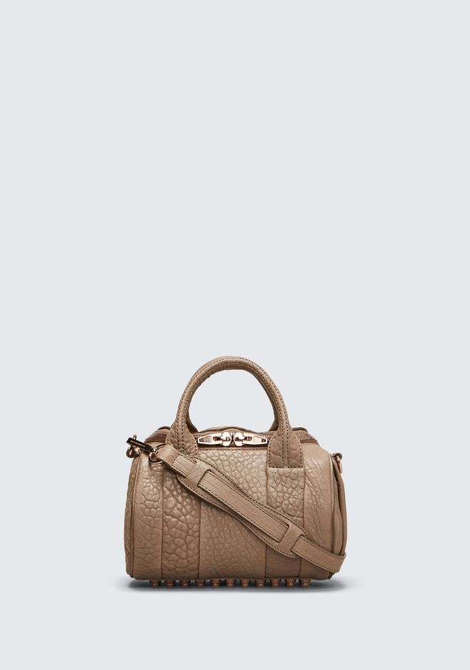 ALEXANDER WANG rockie-rocco MINI ROCKIE IN PEBBLED LATTE WITH ROSE GOLD