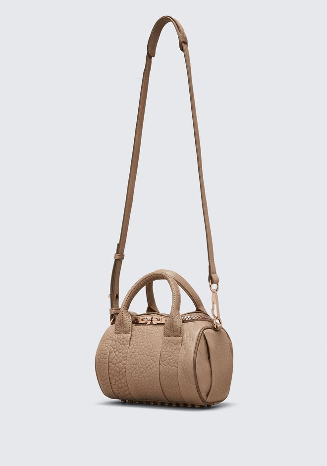 ALEXANDER WANG MINI ROCKIE IN PEBBLED LATTE WITH ROSE GOLD Sac porté épaule Adult 12_n_e