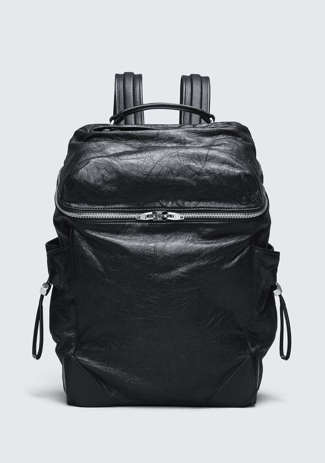 ALEXANDER WANG BACKPACKS Men WALLIE BACKPACK IN WAXY BLACK WITH RHODIUM
