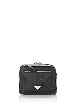 PRISMA POCKET CROSSBODY IN PEBBLED BLACK WITH RHODIUM