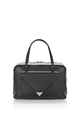 PRISMA POCKET DUFFLE IN PEBBLED BLACK WITH RHODIUM