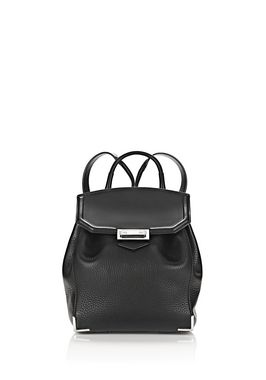 PRISMA MINI BACKPACK IN PEBBLED BLACK WITH RHODIUM