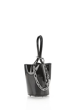 ROXY MINI BUCKET IN BLACK PATENT WITH RHODIUM