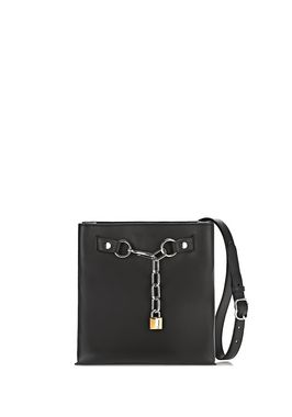 ATTICA CHAIN SHOULDER BAG IN SMOOTH BLACK WITH RHODIUM