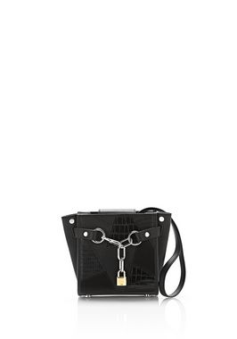 ATTICA CHAIN MINI SATCHEL IN MIXED BLACK PATCHWORK WITH RHODIUM