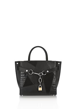 ATTICA CHAIN SATCHEL MIXED BLACK MIXED PATCHWORK WITH RHODIUM