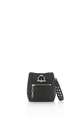RIOT CROSS BODY BAG IN PEBBLED BLACK WITH RHODIUM