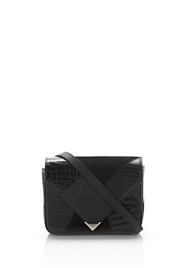 SMALL PRISMA ENVELOPE SLING IN MIXED BLACK PATCHWORK WITH RHODIUM