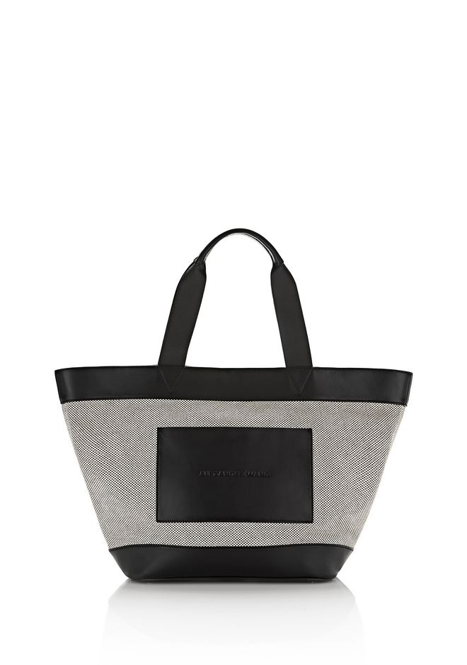 ALEXANDER WANG FOURRE-TOUT Femme BLACK AND WHITE CANVAS TOTE WITH RHODIUM