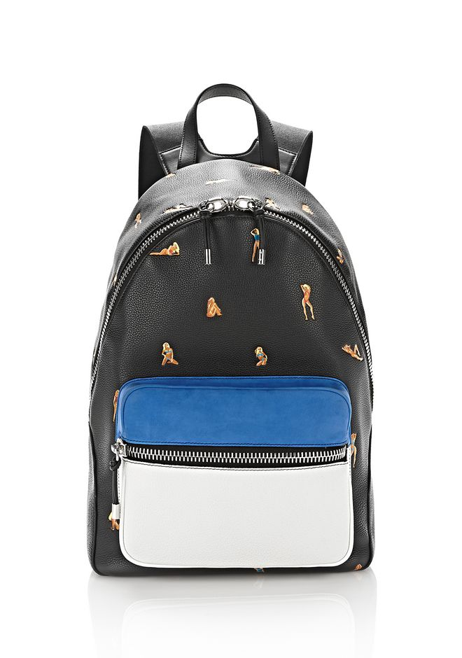 ALEXANDER WANG accessories BERKELEY BACKPACK PEBBLED BLACK WITH EMBROIDERED BIKINI BABES