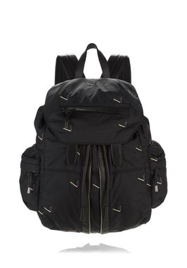 MARTI BACKPACK IN BLACK NYLON WITH CIGARETTE EMBRIODERY
