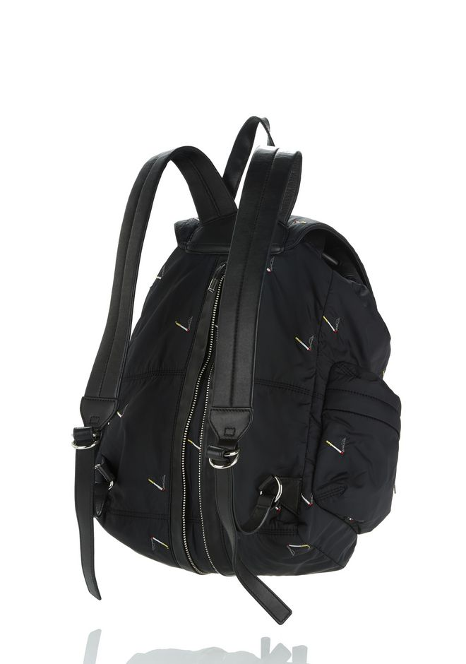 ALEXANDER WANG MARTI BACKPACK IN BLACK NYLON WITH CIGARETTE EMBRIODERY  BACKPACK Adult 12_n_d