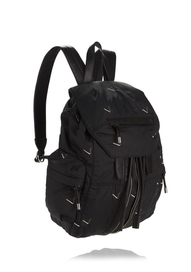 ALEXANDER WANG MARTI BACKPACK IN BLACK NYLON WITH CIGARETTE EMBRIODERY  BACKPACK Adult 12_n_e