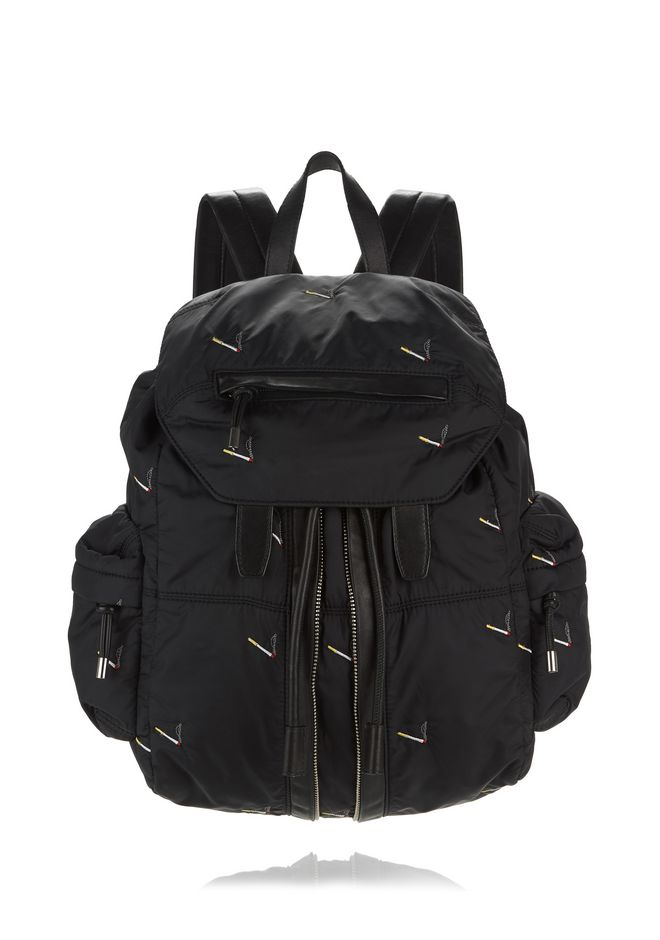 ALEXANDER WANG MARTI BACKPACK IN BLACK NYLON WITH CIGARETTE EMBRIODERY  BACKPACK Adult 12_n_f