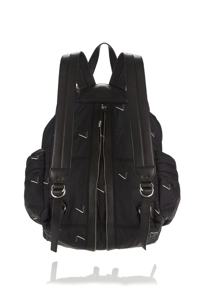 ALEXANDER WANG MARTI BACKPACK IN BLACK NYLON WITH CIGARETTE EMBRIODERY  BACKPACK Adult 12_n_r