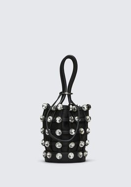 ROXY MINI BUCKET BAG IN BLACK WITH GLASS STONES