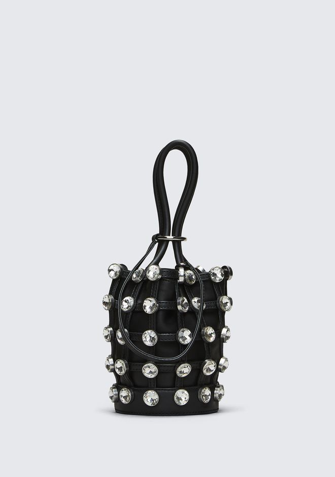 ALEXANDER WANG roxy ROXY MINI BUCKET BAG IN BLACK WITH GLASS STONES