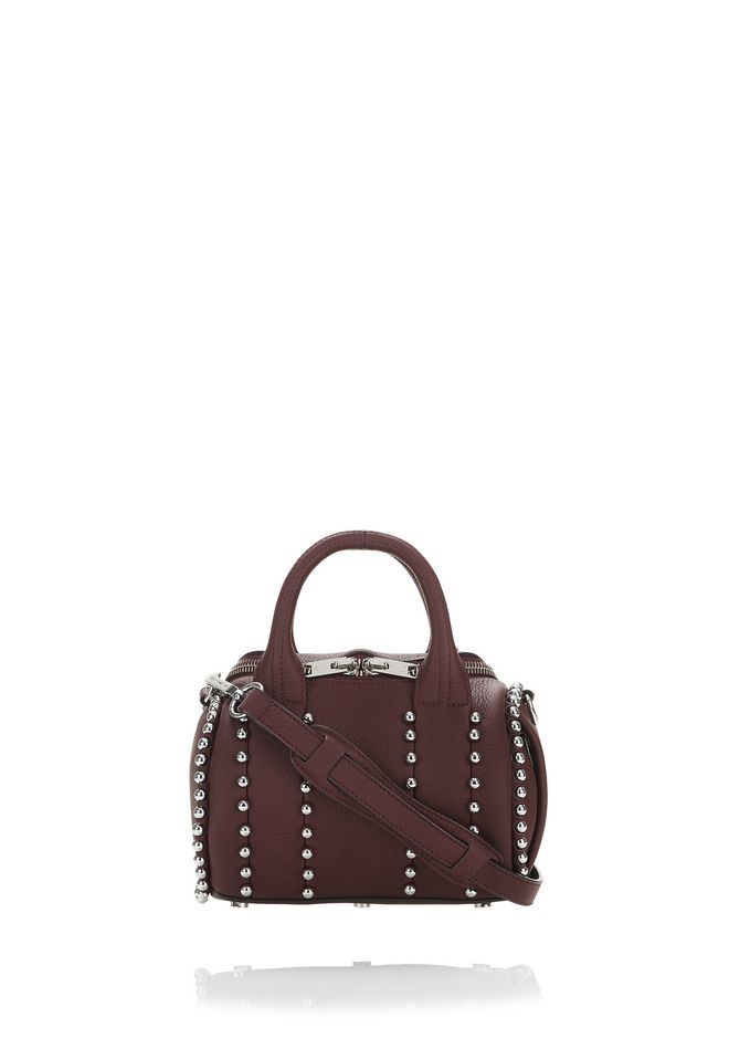 ALEXANDER WANG Sacs porté épaule BALL STUD MINI ROCKIE IN MATTE BEET WITH RHODIUM